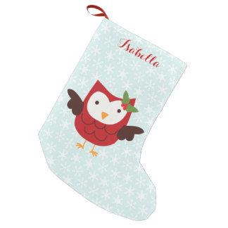 Meia De Natal Pequena Coruja vermelha do feriado personalizada