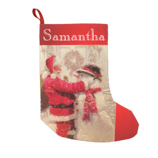 Meia De Natal Pequena Costume da meia do Natal do boneco de neve do