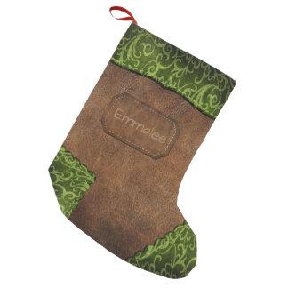 Meia De Natal Pequena Couro verde do monograma de Brown do falso