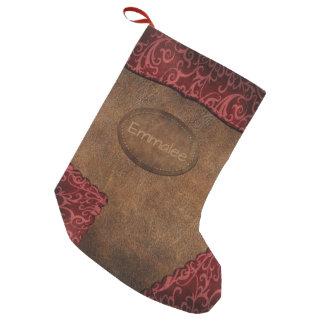 Meia De Natal Pequena Couro vermelho marrom do monograma do falso