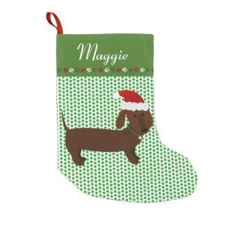 Meia De Natal Pequena Dachshund alegre de Brown do papai noel
