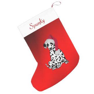 Meia De Natal Pequena Dalmatian com nome dos cães na parte superior