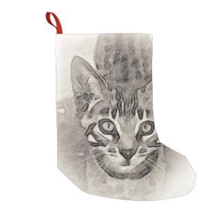 Meia De Natal Pequena Desenho do gatinho de Bengal