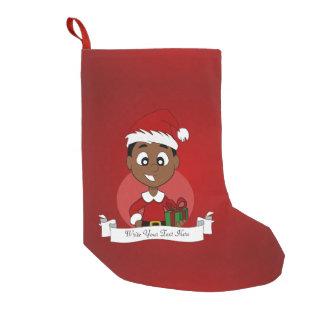 Meia De Natal Pequena Desenhos animados do menino do Natal