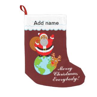 Meia De Natal Pequena Divertimento Papai Noel preto que está na terra,