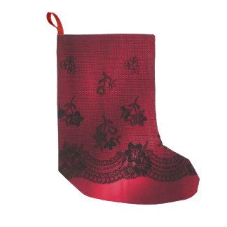 Meia De Natal Pequena Do laço vermelho do preto do cetim do Natal meia