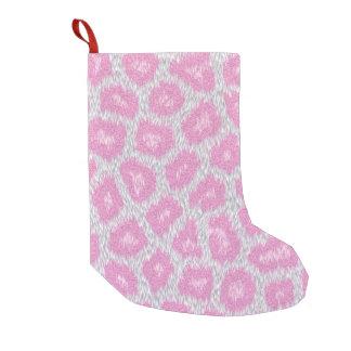 Meia De Natal Pequena Estilo do leopardo de neve - rosa de prata
