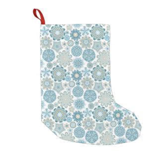 Meia De Natal Pequena Estoque azul dos flocos de neve