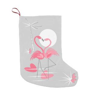 Meia De Natal Pequena Estoque do amor do flamingo frente e verso