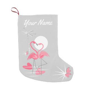 Meia De Natal Pequena Estoque do nome do amor do flamingo frente e verso