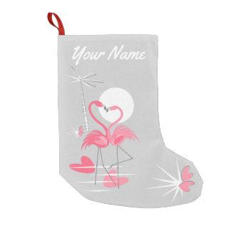 Meia De Natal Pequena Estoque do nome do amor do flamingo unilateral