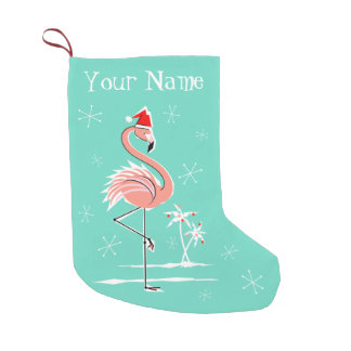 Meia De Natal Pequena Estoque do nome do flamingo do Natal frente e