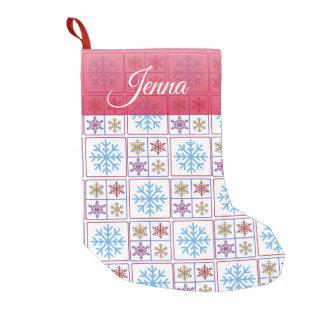 Meia De Natal Pequena Estoque personalizado dos flocos de neve do