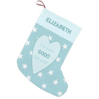 Meia De Natal Pequena Estrelas personalizadas do Natal do azul de gelo