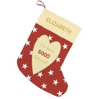 Meia De Natal Pequena Estrelas vermelhas personalizadas do Natal