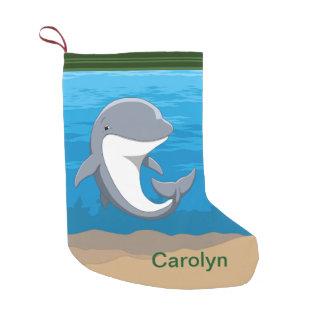 Meia De Natal Pequena Eu amo o Bottlenose bonito dos golfinhos