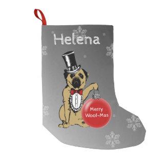 Meia De Natal Pequena Exposições de cães do senhor Pug seus desejos do