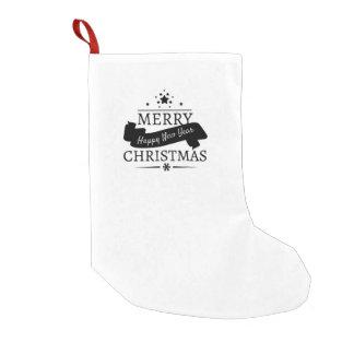 Meia De Natal Pequena Feliz Natal branco preto e um feliz ano novo