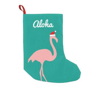 Meia De Natal Pequena Flamingo cor-de-rosa engraçado personalizado do