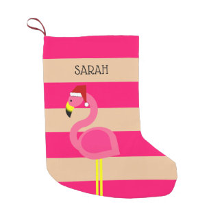 Meia De Natal Pequena Flamingo cor-de-rosa meia personalizada