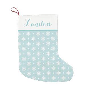 Meia De Natal Pequena Flocos de neve doces meia/azul personalizados