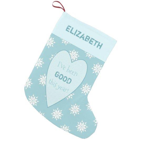 Meia De Natal Pequena Flocos de neve personalizados do Natal do azul de