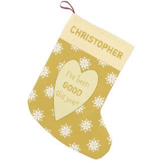 Meia De Natal Pequena Flocos de neve personalizados do Natal do ouro