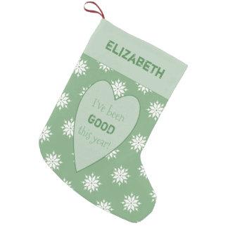 Meia De Natal Pequena Flocos de neve verdes personalizados do Natal