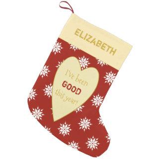 Meia De Natal Pequena Flocos de neve vermelhos personalizados do Natal