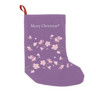 Meia De Natal Pequena Flor de cerejeira - transparente - Feliz Natal