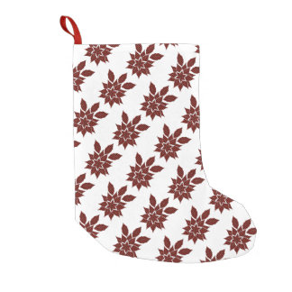 Meia De Natal Pequena Flor do Tartan