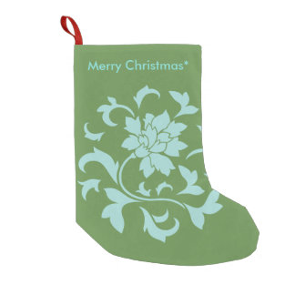 Meia De Natal Pequena Flor oriental - Feliz Natal - verde