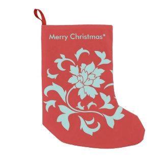 Meia De Natal Pequena Flor oriental - Feliz Natal - vermelho