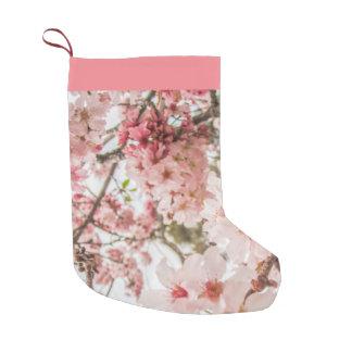 Meia De Natal Pequena Flores de cerejeira cor-de-rosa bonito -