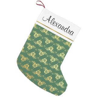 Meia De Natal Pequena Folha de ouro e flores tropicais havaianas verdes