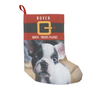 Meia De Natal Pequena Foto engraçada e nome do cão de Papai Noel