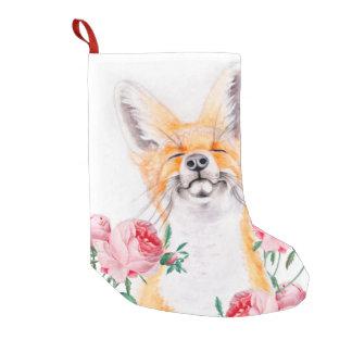 Meia De Natal Pequena Foxy feliz e rosas