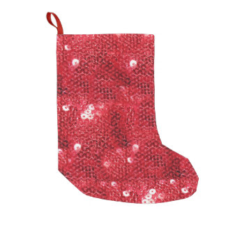 Meia De Natal Pequena Fundo vermelho do Sequin-Olhar