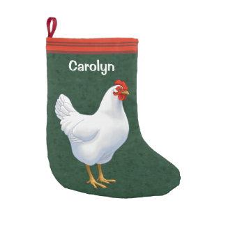 Meia De Natal Pequena Galinha da galinha da legorne branca