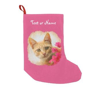 Meia De Natal Pequena Gatinho bonito do gato do gengibre - papai noel