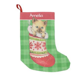 Meia De Natal Pequena Gatinho na arte festiva da meia