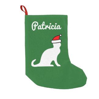Meia De Natal Pequena Gato bonito personalizado com o chapéu do papai