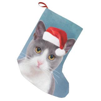 Meia De Natal Pequena Gato que veste o retrato do Natal do chapéu do
