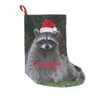 Meia De Natal Pequena Guaxinim do Natal personalizado