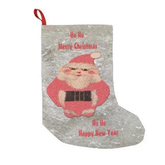 Meia De Natal Pequena Ho Ho brilho do marfim do papai noel