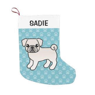 Meia De Natal Pequena Ilustração branca do cão dos desenhos animados do