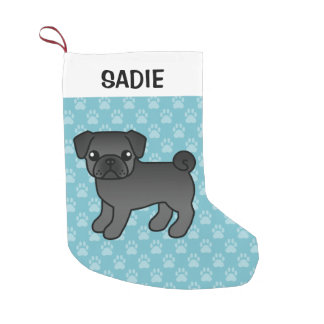 Meia De Natal Pequena Ilustração preta do cão dos desenhos animados do