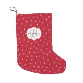 Meia De Natal Pequena Inverno no vermelho do Natal do amor com flocos de