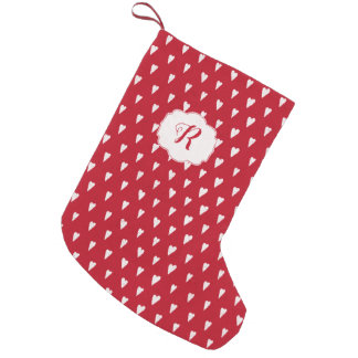 Meia De Natal Pequena Inverno no vermelho do Natal do amor com monograma