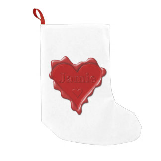 Meia De Natal Pequena Jamie. Selo vermelho da cera do coração com Jamie